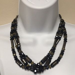 Jewelry - Gunmetal and Black Beaded Necklace
